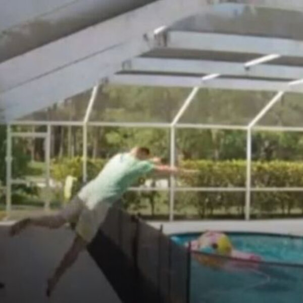 What's Viral - Dad diving over pool fence to save young son