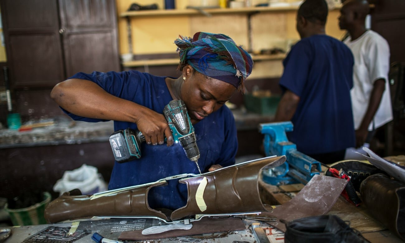 A clinic making artificial limbs in Central African republic
