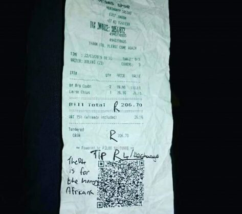 Barbs Wire - Teens leave Spur waiter R4 tip for hungry Africans