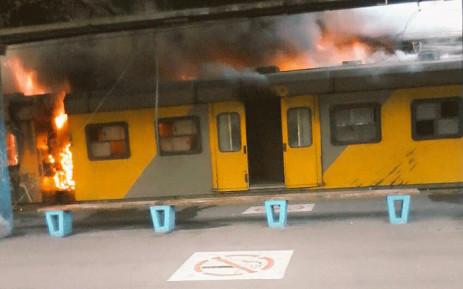 Trains set alight again in Cape Town.