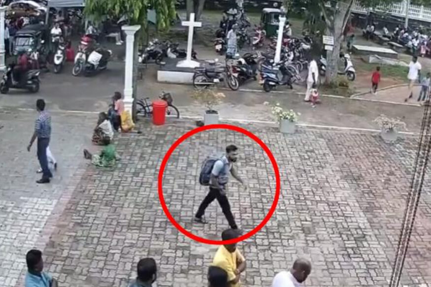 Barbs Wire - Footage shows suspected suicide bomber enter Sri Lankan Church